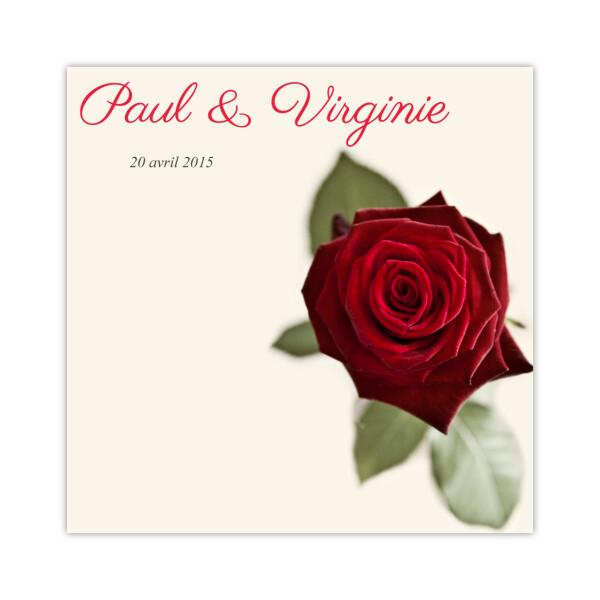 Remerciements Rose rouge carré